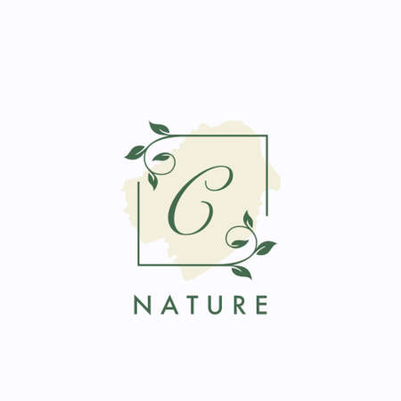 C initial letter square leaf green nature floral   template
