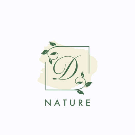 D initial letter square leaf green nature floral   template