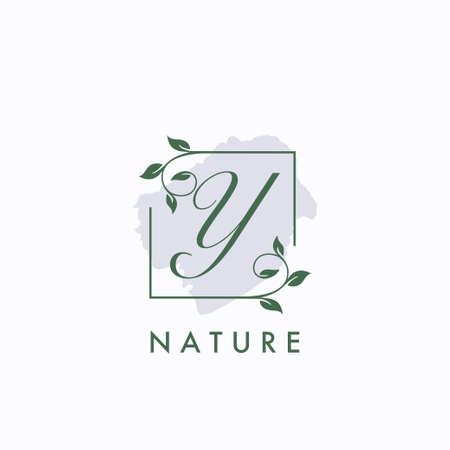 Y initial letter square leaf green nature floral   template