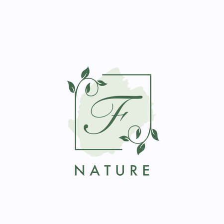 F initial letter square leaf green nature floral   template 矢量图像