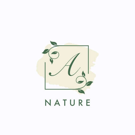 A initial letter square leaf green nature floral   template