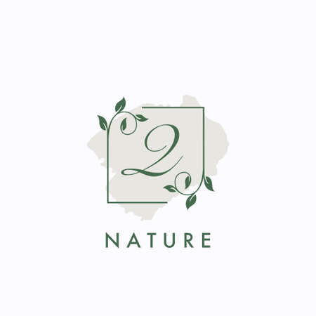 Q initial letter square leaf green nature floral   template 矢量图像