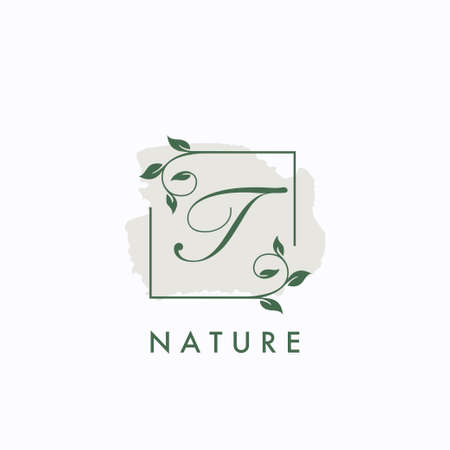 T initial letter square leaf green nature floral   template