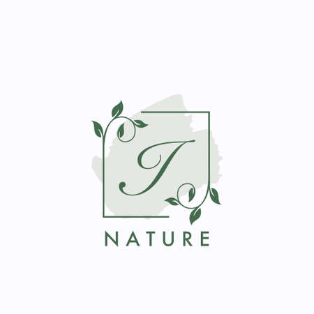 I initial letter square leaf green nature floral   template
