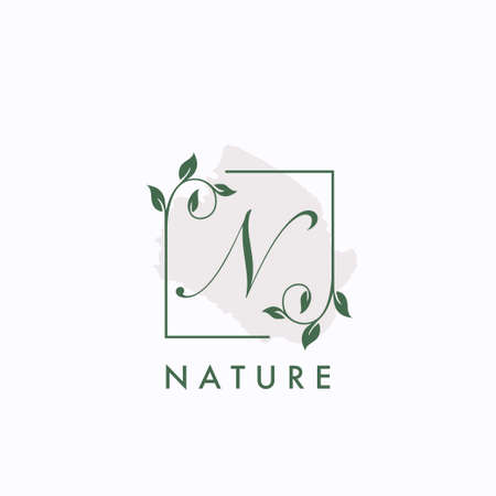 N initial letter square leaf green nature floral   template 矢量图像