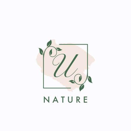 U initial letter square leaf green nature floral   template 矢量图像