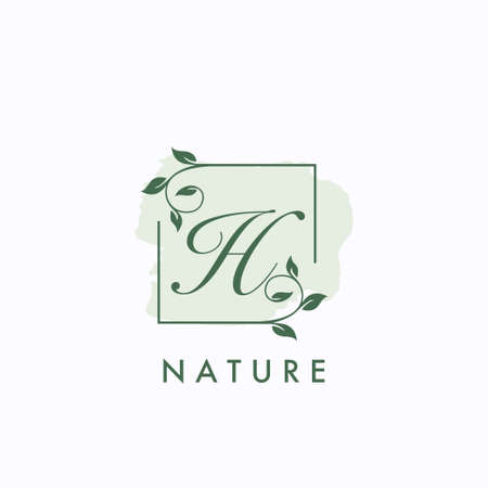 H initial letter square leaf green nature floral   template 矢量图像