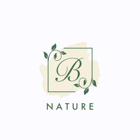 B initial letter square leaf green nature floral   template