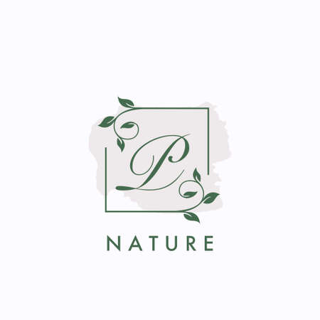 P initial letter square leaf green nature floral   template