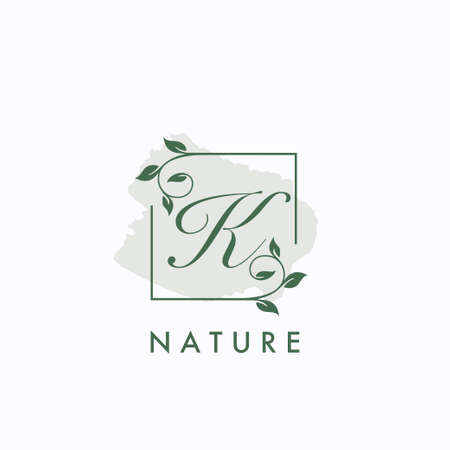 K initial letter square leaf green nature floral template