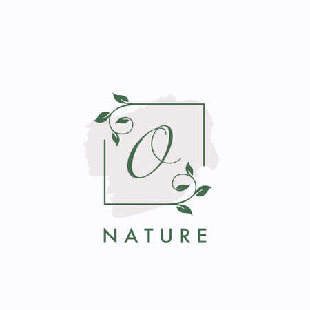 O initial letter square leaf green nature floral template