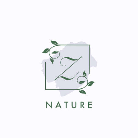 Z initial letter square leaf green nature floral template