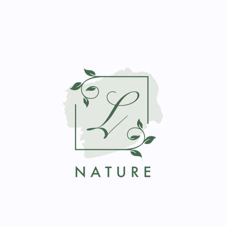 L initial letter square leaf green nature floral template