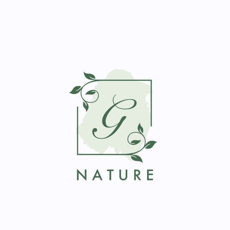 G initial letter square leaf green nature floral template