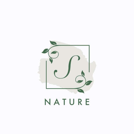 S  initial letter square leaf green nature floral template