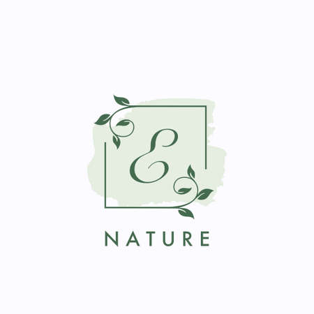 E initial letter square leaf green nature floral template