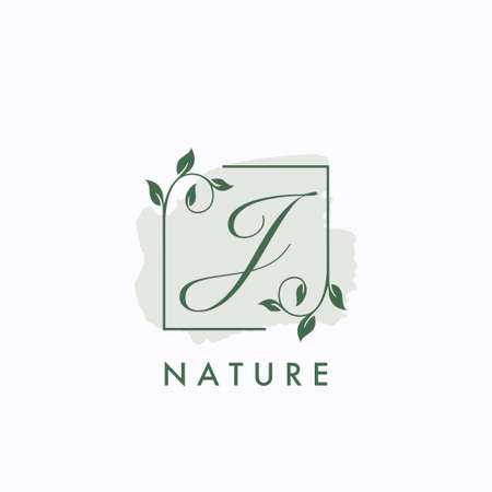 J initial letter square leaf green nature floral template 矢量图像