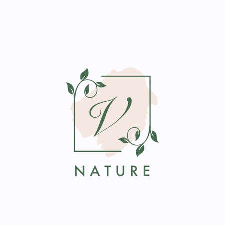 V initial letter square leaf green nature floral template