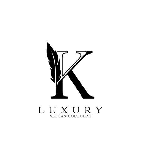 Monogram Luxury feather Initial Letter K Logo icon, vector design concept feather with alphabet letter for business corporate, lawyer, notary, firm and more brand