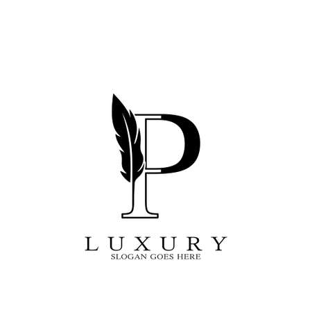 Monogram Luxury feather Initial Letter P Logo icon, vector design concept feather with alphabet letter for business corporate, lawyer, notary, firm and more brand