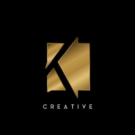 Golden Square Negative Space K letter Logo. Creative design concept square shape with negative space letter K logo for initial, technology or business identity.