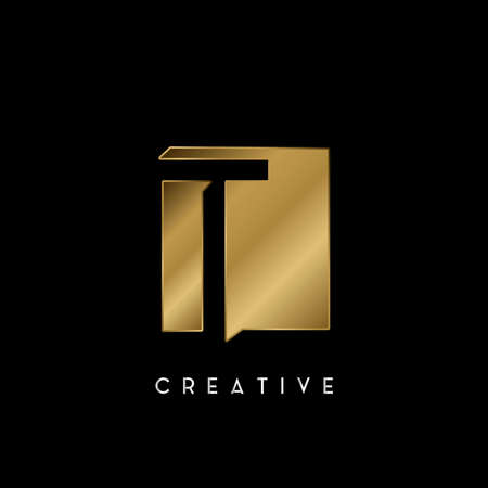 Golden Square Negative Space T letter Logo. Creative design concept square shape with negative space letter T logo for initial, technology or business identity. 矢量图像