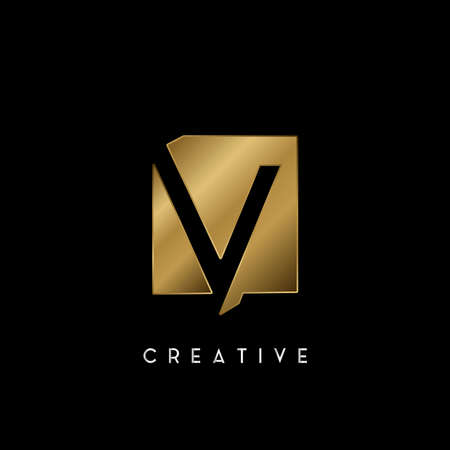 Golden Square Negative Space V letter Logo. Creative design concept square shape with negative space letter V logo for initial, technology or business identity. 矢量图像
