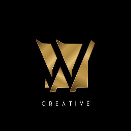 Golden Square Negative Space W letter Logo. Creative design concept square shape with negative space letter W logo for initial, technology or business identity. 矢量图像