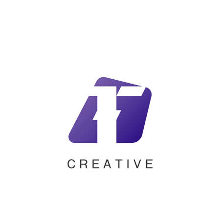 Abstract Techno Negative Space Initial Letter T Logo icon vector design.