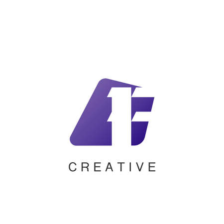Abstract Techno Negative Space Initial Letter F Logo icon vector design.
