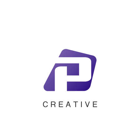 Abstract Techno Negative Space Initial Letter P Logo icon vector design.