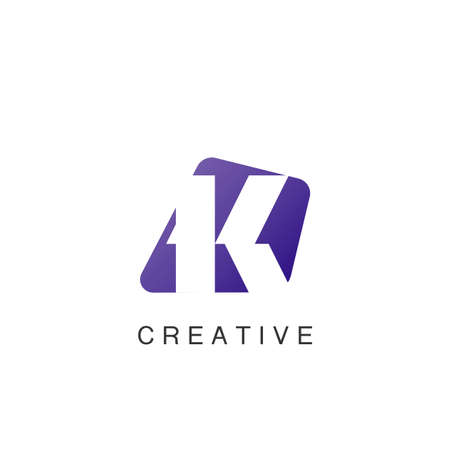 Abstract Techno Negative Space Initial Letter K Logo icon vector design.