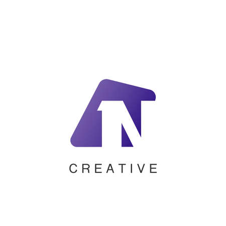 Abstract Techno Negative Space Initial Letter N Logo icon vector design.