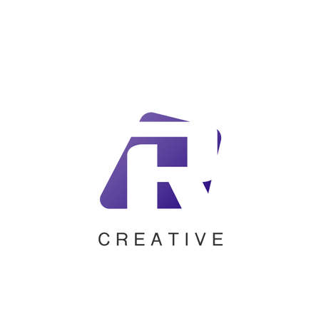 Abstract Techno Negative Space Initial Letter R Logo icon vector design.