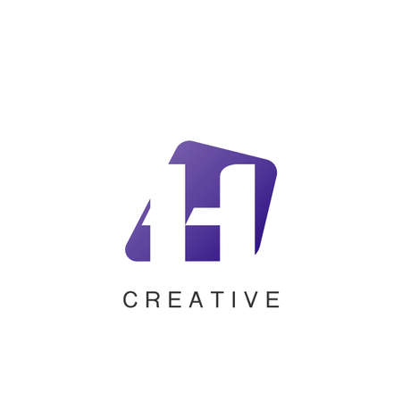 Abstract Techno Negative Space Initial Letter H Logo icon vector design.