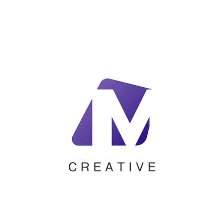 Abstract Techno Negative Space Initial Letter M Logo icon vector design.