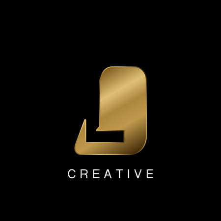 Golden Abstract Techno Letter L Logo, creative negative space vector template design concept. 矢量图像