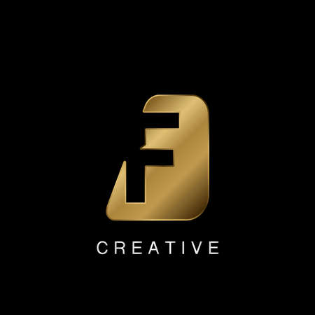 Golden Abstract Techno Letter F Logo, creative negative space vector template design concept. 矢量图像