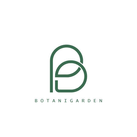 Botanical Letter B with leaf logo Template Design for nature business identity.