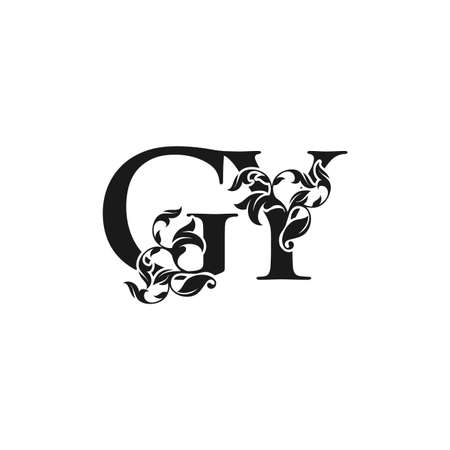 Ornate Luxury Floral Letter G, Y, GY Initial Logo Icon, Black and White Monogram Floral Leaf Design.
