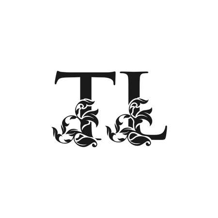 Ornate Luxury Floral Letter T, L, TL Initial Logo Icon, Black and White Monogram Floral Leaf Design.