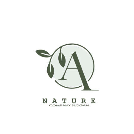 A Letter Nature Floral Logo. Abstract vector logo design concept naturally floral leaf with circle shape and letter for initial or business identity.