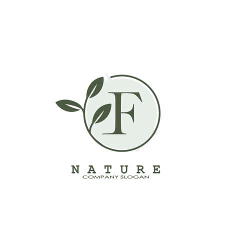 E Letter Nature Floral Logo. Abstract vector logo design concept naturally floral leaf with circle shape and letter for initial or business identity.