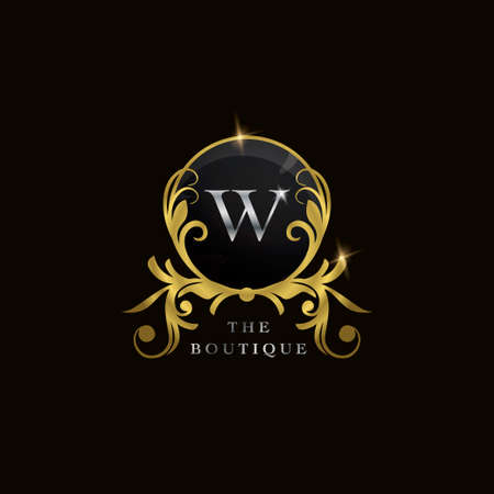 W Letter Golden Circle Shield Luxury Boutique Logo, vector design concept for initial, luxury business, hotel, wedding service, boutique, decoration and more brands.