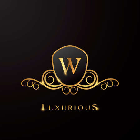 Letter W Luxurious Shield   Golden Color, vector design concept for luxury business, hotel, wedding service and more brand identity.