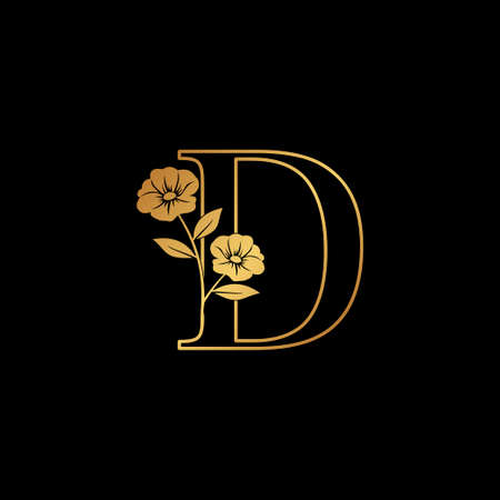 Golden Nature Flower Initial Letter D