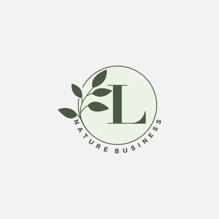 L Letter Logo Circle Nature Leaf Ilustrace