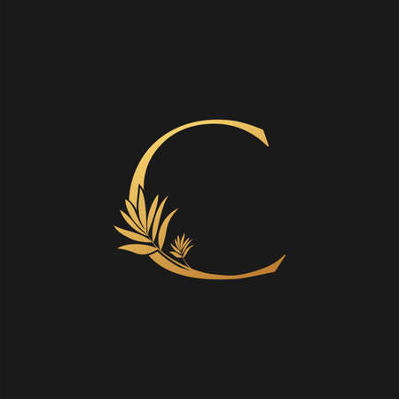 Golden Letter C Classic Vintage Icon. Vintage design concept classic vector nature leaves with letter icon gold color.