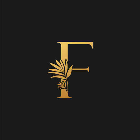 Golden Letter F Classic Vintage Icon. Vintage design concept classic vector nature leaves with letter icon gold color.