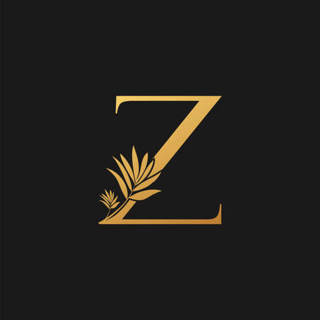 Golden Letter Z Classic Vintage Icon. Vintage design concept classic vector nature leaves with letter icon gold color.